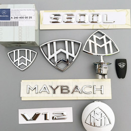 Wholesale Abs Front - Whole Maybach Front Rear Emblem Badge+4 Wheel Center Hub+2 Side Logo+Key cover+ MAYBACH for S400 S500 S600 DHL Free