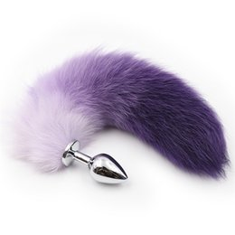 Wholesale Anal Tail Vibration - 2017 Newest chastity fox's tail Anal butt plug sexy Vibration with tail BDSM Game bondage Ass Slapper Vibration sex toys dogplay kinky W268
