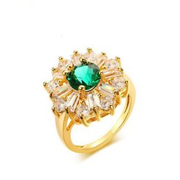 Wholesale Zirconia Solitaire Rings - 2017 New Luxury Women Flowers Rings Green AAA Zirconia Crystal Glod Copper Rings For Ladies Girl Party Wedding Fashion Jewelry