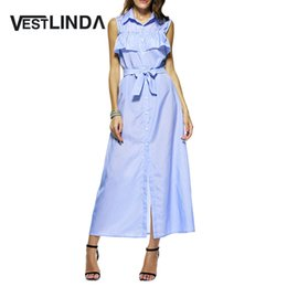 Wholesale Ruffles Shirt - Wholesale- VESTLINDA Blue Striped Maxi Dress Women Casual Long Shirt Dress Vestidos Turn-down Collar Ruffles A Line Split 2017 Sun Dresses