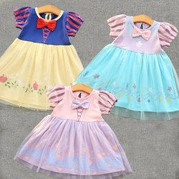 Wholesale Cute Girl Fairy - Girls Princess Dress New Fairy Princess Dressing Bow Children Tutu Dress Cute Tulle Kids Party Dress Halloween Clothes C1059