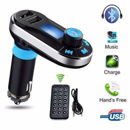 Wholesale Handsfree Display - FM Transmitter receiver Bluetooth car kit mp3 player BT66 Dual USB LCD Display Car Kit Handsfree Car charger