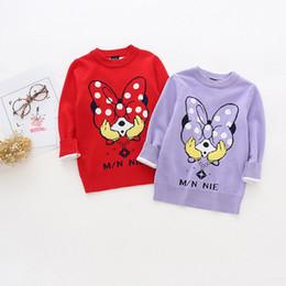 Wholesale Sweater Minnie - Girls clothing Knit Pullover Sweaters Jumper Cartoon Minnie Knitwear 2017 Autumn Winter Red purple