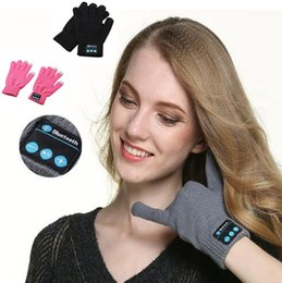 Wholesale Bluetooth Headset Wireless Mobile - 3 Colors Wireless Bluetooth Gloves Unisex Winter Touch Screen Knitted Gloves Mobile Phone Wireless Smart Headset 2pcs pair CCA7464 30pair