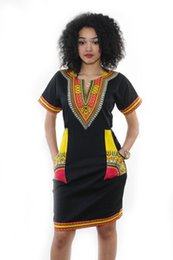 Wholesale Costume National Dresses - 2017 new African totem hedge print V-neck figure black retro loose hip hip sexy dress national wind costumes