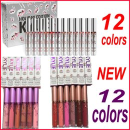 Wholesale 12 Colors - Kylie Jenner Lip gloss NEW Kylie 12 Days Lipstick Vault Holiday Lipstick Makeup 12 colors set Matte Liquid Lipgloss free shipping