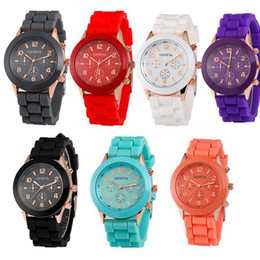 Wholesale Geneva Silicone Rose Gold - 50pcs popular geneva silicone rubber jelly candy watches unisex mens womens ladies colorful rose-gold dress quartz watches