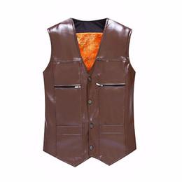 Wholesale Cheap Slim Men Vest - Wholesale- TG6312 Cheap wholesale 2016 new More middle-aged and old male leather vest and velvet warm fur shawl vest