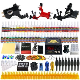 Wholesale Tattoo Needle Ink Kit - Solong TattooComplete Tattoo Kit 3 Pro Rotary Machine Guns 54 Inks Power Supply Needle Grips TK355