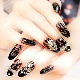 Wholesale Bride Nail Sticker - Wholesale- Women 24pcs Black 3D Glitter Bling False nails Beauty Bride Wedding Lace Sexy Long Full Cover Pre-design nail art stickers #N017