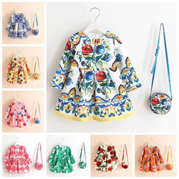 Wholesale chinese christmas costumes - 27 Style Girls Dress Kinderkleding Meisjes Spring Brand Children Costume for Kids Dresses Clothes Character Princess Dress with Bag