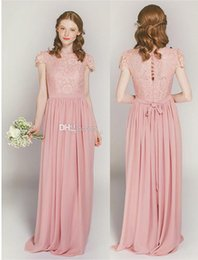 Wholesale Dusty Rose Dresses - Dusty Rose Lace and Chiffon Long Bridesmaid Dresses with Cap Sleeves 2017 Jewel Neckline A-line Full Length Skirts For Bride Party Dress