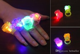 Wholesale Led Flower Disco Light - Rose LED toys Light Up Flashing Rose Flower Bubble Elastic finger Ring Rave Party Blinking Soft Finger Lights For Party Disco KTV