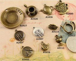 Wholesale Antique Saucer - DIY love plate charms dish food drinks fork spoon, Vintage Antique ornaments handmade accessories zipper cup and saucer teapot bowl Pendant