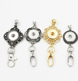 Wholesale Badges Zinc Alloy - 4 Styles Fashion Flowers Badge Lanyard Snap Keychain Necklace Fit 18mm Metal Snap Button