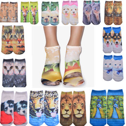 Wholesale Character Socks - Hot 3D Printed Skeleton Socks Cute Animal Cat Carton Character Dollar Bill Skull Foot Funny Socks Women