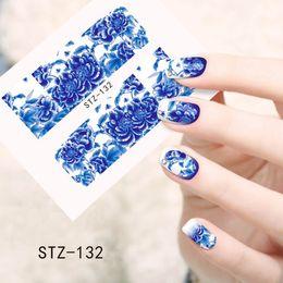 Wholesale Blue Foil Wrap - Wholesale- 1sheets DIY Polish Decorations Beauty Charm Blue Flower Nail Art Stickers Decals Full Wraps Foils Manicure Decorations STZ132