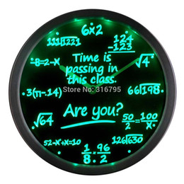 Wholesale Neon Led Wall Clock - Wholesale- nc0463 Math Class Time is Passing are you? Gift Decor Neon LED Wall Clock