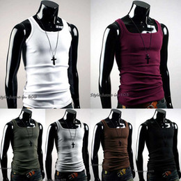sexy muscle shirt Coupons - Wholesale- Hot Selling Men Vest T-Shirt Summer Undershirt Mens Tshirt A-Shirt Wife Beater Ribbed Muscle Vest Top New Fashion