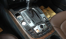 Wholesale Decorative Car Interiors - 2pcs Carbon Fiber Control Gear shift panel decorative cover trim for Audi A4 A5 Q5 interior molding Car styling
