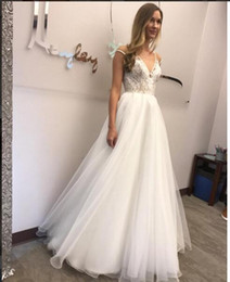 Wholesale Sheer Cover Beach Dress - Elegant Ivory Wedding Dresses Sheer V Neckline Covered Button Lace with Bow Capped Floor Train A-line Bridal Gowns