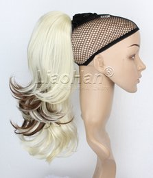 Wholesale Long Brown Blonde Wavy - Medium Long Wavy Blonde Ponytail Hair Extensions Clip on Short Ponytail with Brown Hair Highlights Blonde Hair Tail