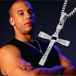 Wholesale Cross Links - Wholesale-Fast and Furious Cross Necklaces&Pendants Movie Jewelry Classic Rhinestone Pendant Sliver Cross Necklaces Pendants For Men