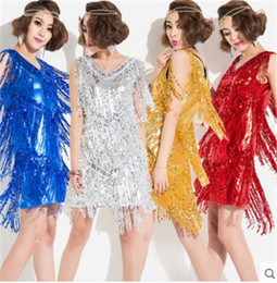 Wholesale Latin Dance Tassel - 5 color Sexy Sequin dress tassel Latin dance Samba Sasa DS ballroom Rumba costume competition just suits the group take jazz dance costumes