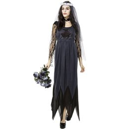 Wholesale Scary Costumes For Women - Halloween Corpse Bride Cosplay Lace Dress Ghost Bride Costume for Women Scary Clothing RF0136