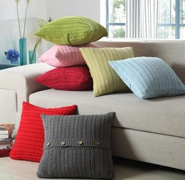 Wholesale Functional Fiber - 11 Kinds Of Color Cushion Faux Knitting Home Decorative Hand Made Pillow Case Cushion Cover For Travel Use , 18X 18-Inch Xmas Gift