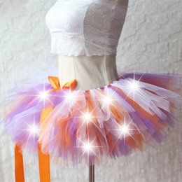 Wholesale Women Flower Tutu - Flower Girl Dress Women Tulle Tutu Skirt Sexy Mini Fancy Adult Petticoat Fluffy Yarn Ballet Dance Skirt Christmas LED Light Up Tutu