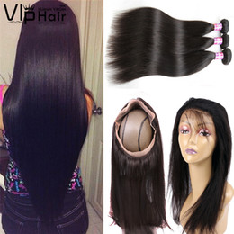 Wholesale Malaysian Hair Closure Pcs - Malaysian 360 Straight Lace Frontal Closure with Hair Bundle 2 3 Pcs Hair Extensions with 1 Pcs 360 Lace Closure Human Hair Weaves Wefts