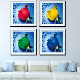 Wholesale 3d Kit Decorations - 3D Diamond Painting Embroidery DIY Kit Drip Water Rose Painting Hand Made Sticking Drill Cross Stitch Home Decor 4 5zs F R