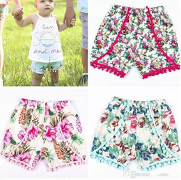 Wholesale Girls Shorts Floral Pants - Baby shorts fashion new infant girls floral printed pompon PP shorts toddlers kids cotton hot pants children bottoms children clothing