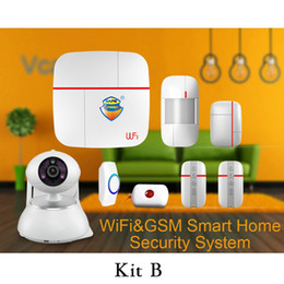 Wholesale Gsm Home Security Set - Wholesale- (1 set Kit B) Vcare WIFI GSM Dual-network Intelligent Alarm system IOS&Andorid APPS Camera Home Security Alarm PIR Door open