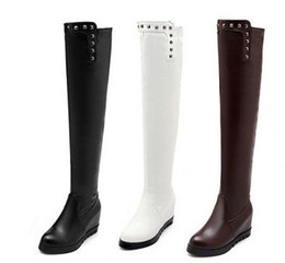 Wholesale Brown Girls Motorcycle Boots - New Arrival Hot Sale Specials Influx Sweet Girl Sexy Spike Retro Leather Rivets Punk Increased Elastic Stovepipe Wedge Knee Boots EU34-43