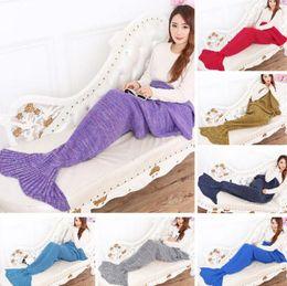 Wholesale Baby Sofa Beds - Mermaid Fish Tail Sofa Blanket 90*50cm Warm Soft Sleeping Bags Bedding Wrap Baby Sleeping Bags 16 Colors OOA2885
