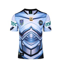 Wholesale Blue Shark Size - 2017 2018 NRL Rugby Jersey blue shark high quality Mens Rugby Football Jersey Size S-3XL free shipping