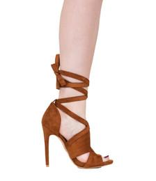 Zapatos stilettos marrones online-Zandina para mujer de moda hechos a mano 10 cm sandalias de tacón alto Banding Club Party noche Stiletto Shoes Brown Z71010