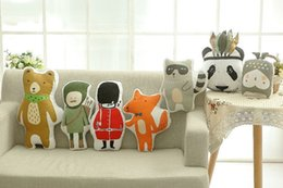 Wholesale hunter bear - Wholesale- Free Shipping Hot Lovely Animals Fox Panda Bear Soldier Hunter Raccoon Cushion Pillow Toys Stuffed Plush Dolls Gifts For Kids