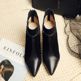 Wholesale Dance Shoes Charms - women pointed toes thin heels new genuine leather cut outs charm solid patchwork Banquet dance fashion shoes
