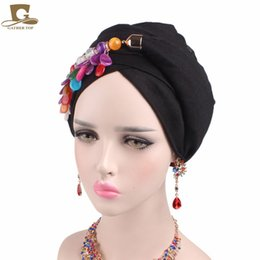 Wholesale Free Stone Peach - New Women Marble Stone Pendant Head Scarf Headscarf Turban Soft Cotton Voile Long Headwrap Necklace Scarves Jewelry Neck Warmer