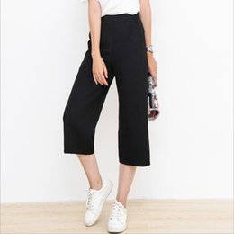 Wholesale Women Harem Capri - 2017 Breeches Pants for Women Wide Leg Trousers Harem Pants Loose capri pants women Slim fit Black Elastic High Waist Plus Size
