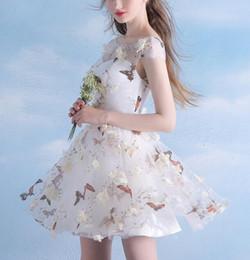 Canada Main Fleur Papillon Imprimé Mini Cocktail Robes Manches Dos Nu Robes De Bal Courtes Robes De Soirée Taille Personnalisée Offre