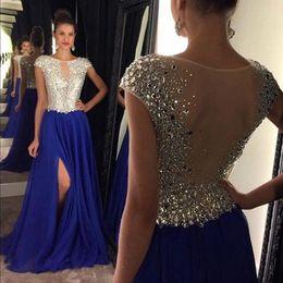 Wholesale Sheer Nude Dress Rhinestones - 2017 Luxury Crystal Rhinestone Evening Dresses Vestido De Festa Longo Side Split A Line Sheer Back Royal Blue Chiffon robe de soiree