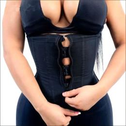 Tamanho maior, látex para mulheres on-line-Espartilho Shaper Do Corpo Das Mulheres Látex Trainer Cintura com Zíper Underbust Cincher Cintura Shaper Slimming Shaper Quente Cinto Preto Plus Size