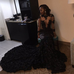 Wholesale Evening Dresses Crystal Tulle Transparent - Sexy Black Girls Prom Dresses Mermaid Lace Appliques Bling Sequined Transparent Long Sleeve African Imported Party Dress Evening