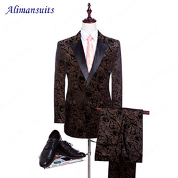Wholesale Groom Suit Patterns - Wholesale- 2017 High Quality Man Suits Pattern Groom Tuxedos Velvet Groomsman Suit Tailored Double Breasted Wedding Suits (Jacket+pants)