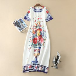 Wholesale Short Vases - European and American women's wear 2017 Summer wear new 5 minutes of sleeve vase Floral print Long dress