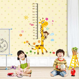 Wholesale Giraffe Measure Cartoon - Giraffe image Measuring height Vinyl Mural Wall Sticker Decals Kids Nursery Room Decor ,Removable cartoon wall stickers